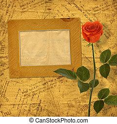 Vintage aged background, with old Postcard, envelopes,...