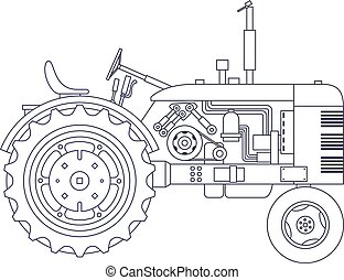 Vintage agricultural tractor isolated on white vackground....