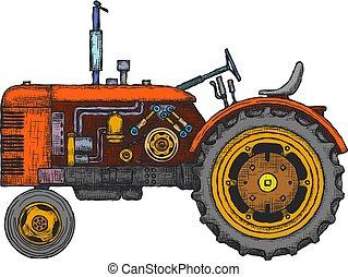 Vintage agricultural tractor, sketch. Hand drawn Vector illustration