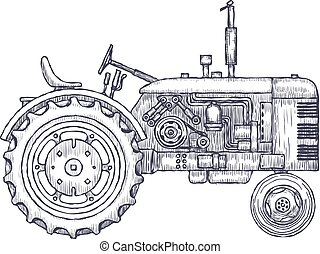 Vintage agricultural tractor, sketch. Hand drawn Vector...