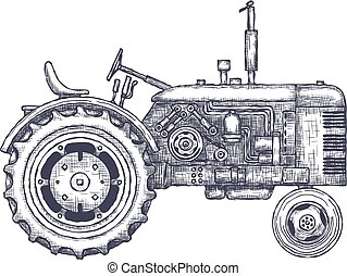 Vintage agricultural tractor, sketch. Hand drawn Vector...