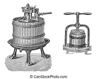 Vintage agriculture: wine and juice press - 19th century...
