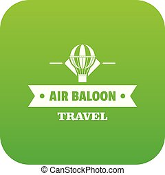 Vintage air balloon icon green vector