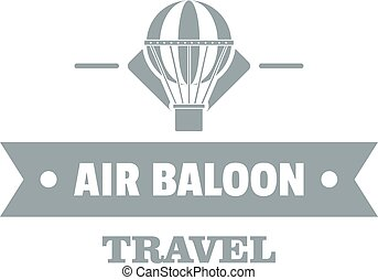 Vintage air balloon logo, simple gray style