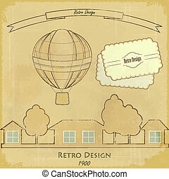 Vintage Air Balloon Retro card