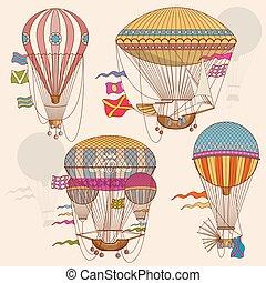 Vintage air balloon vector set