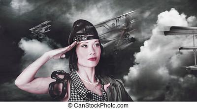 Vintage air force fighter pilot saluting