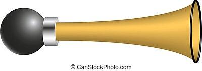 Vintage air horn in golden design on white background