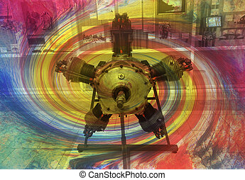 vintage aircraft rotary engine