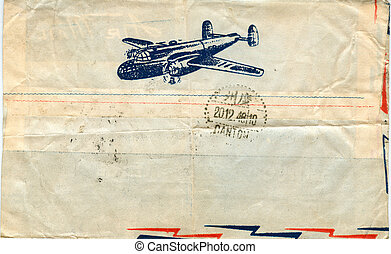 vintage airmail envelope with a plane on it