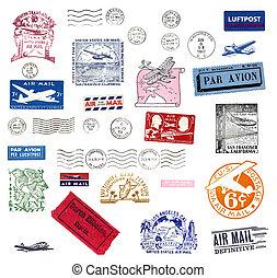 Vintage airmail labels and stamps - Vintage postage stamps...