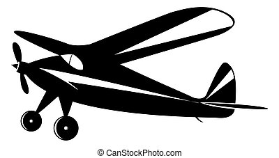 vintage airplane in black and white toner, vector mode