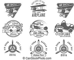 Vintage airplane emblems. Biplane labels. Retro Plane badges...