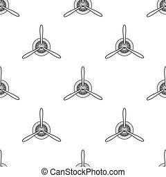 Vintage airplane pattern. Biplane propellers seamless background. Retro Aircraft wallpaper and design elements. Aviation style. Fly propeller, old icon, isolated. Vector