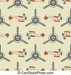 Vintage airplane pattern. With Old Biplanes, propeller...