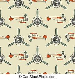 Vintage airplane pattern. With Old Biplanes, propeller...