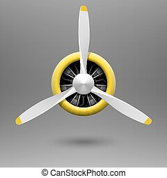 Vintage airplane propeller with radial engine