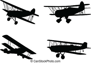 Vintage airplanes silhouettes - vector