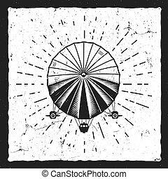 Vintage airship background. Retro Dirigible balloon grunge...