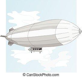 Vintage airship. Dirigible balloon.