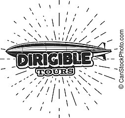 Vintage airship logo design. Retro Dirigible badge, poster. Airplane Label vector . Old sketching style. Use as fly , , stamp, patch for web  or tee , t-shirt