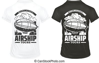 Vintage Airship Prints On Shirts Template