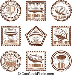 Vintage Airship Stamps Set