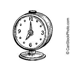 Vintage alarm clock. Ink sketch isolated on white background...