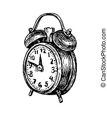 Vintage alarm clock. - Twin bell alarm clock. Ink sketch ...