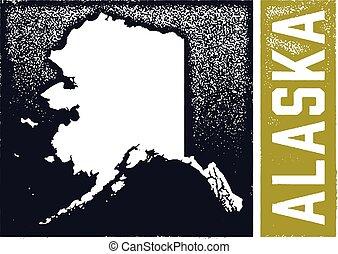 Vintage Alaska State Stamp Sign