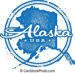 Vintage Alaska USA State Stamp - Vintage style distressed...