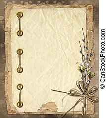 Vintage album with bunch of willow and bow
