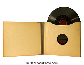 vintage album with records