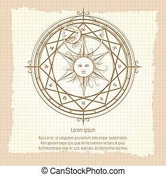 Vintage alchemy magic circle