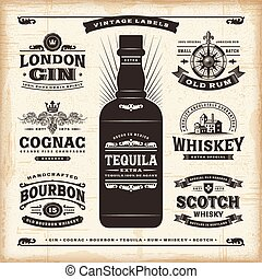 Vintage alcohol labels collection - A set of fully editable...