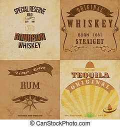 Vintage alcohol labels set.