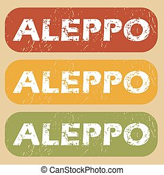Vintage Aleppo stamp set - Set of rubber stamps with city ...