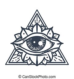 All Seeing Eye in Triangle - Vintage All Seeing Eye in ...