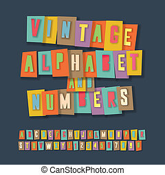 Vintage alphabet and numbers, colorful paper craft design, cut out by scissors from paper. Vector Eps10 illustration.