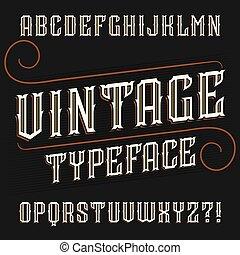 Vintage alphabet font. Ornate decorative in retro style.