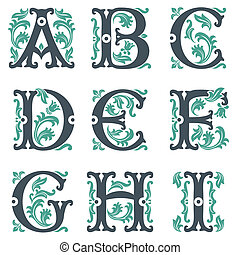 vintage alphabet. Part 1 - vector set of letters in the old...