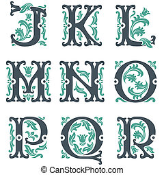 vintage alphabet. Part 2 - vector set of letters in the old...
