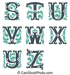 vintage alphabet. Part 3 - vector set of letters in the old...