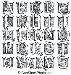 Vintage alphabet vector set for poster