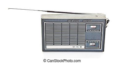 Vintage AM and Police Band Transistor Radio On White Background