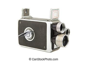 vintage amateur movie camera - isolated on white portrait of...