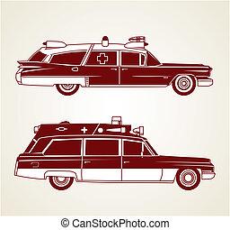 Profile line art of two old ambulances