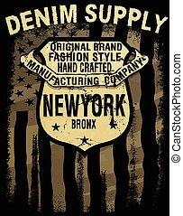 Vintage america denim typography; t-shirt graphics; vectors