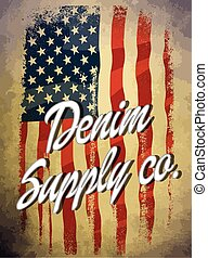 Vintage america denim typography, t-shirt graphics, vectors