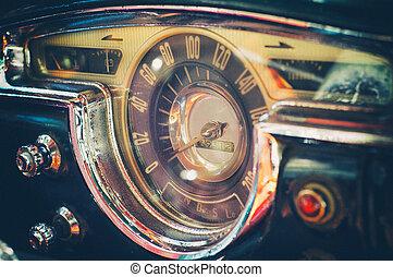 Vintage american car dashboard, cuba - Interior of old ...